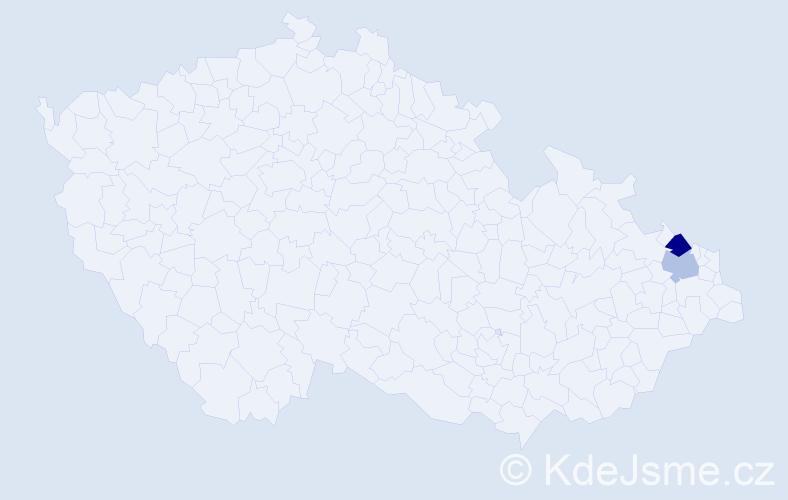 Příjmení: 'Krokrová', počet výskytů 5 v celé ČR