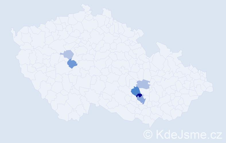 Příjmení: 'Houbal', počet výskytů 15 v celé ČR