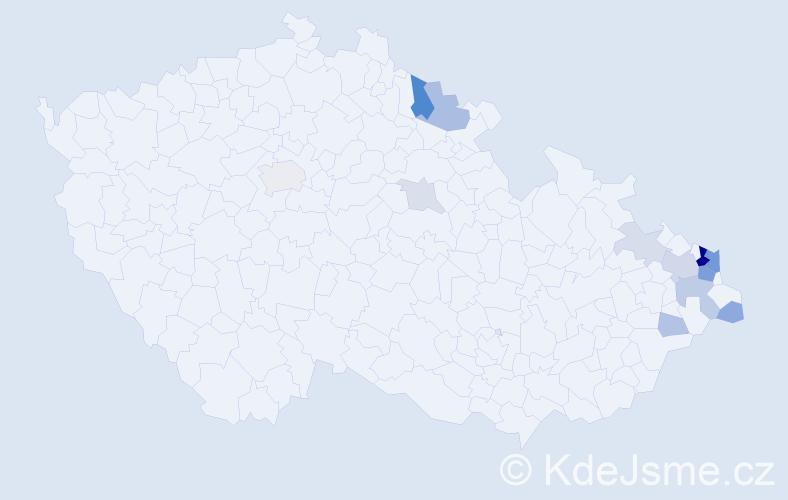 Příjmení: 'Kondělková', počet výskytů 36 v celé ČR