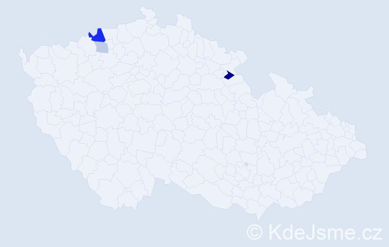 Příjmení: 'Holics', počet výskytů 7 v celé ČR