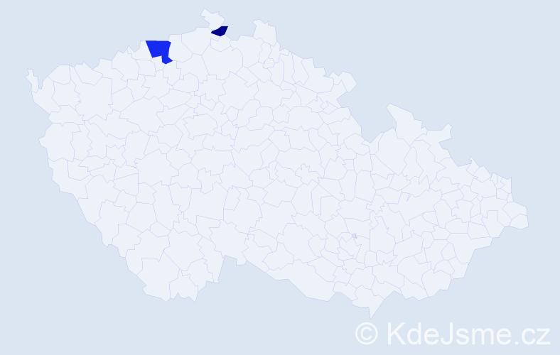 Příjmení: 'Acs', počet výskytů 4 v celé ČR