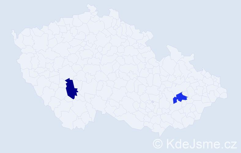 Příjmení: 'Lavender', počet výskytů 2 v celé ČR