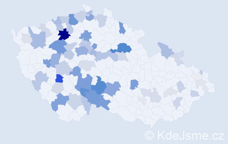 Příjmení: 'Lapková', počet výskytů 219 v celé ČR