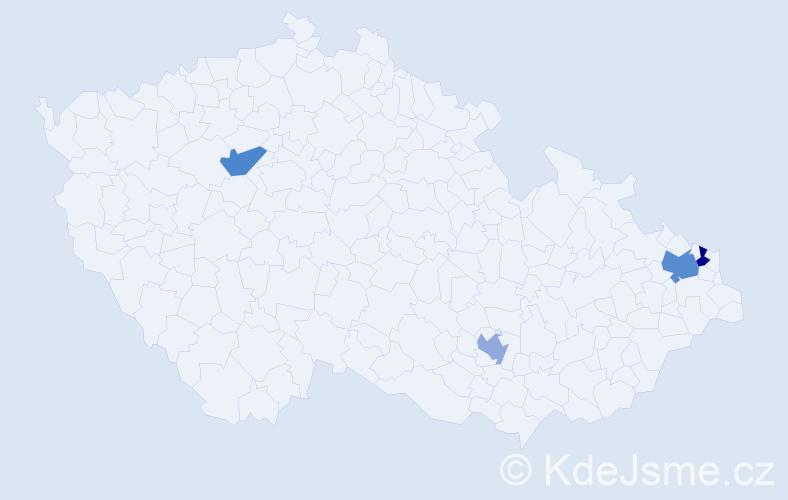 Příjmení: 'Chimaľ', počet výskytů 5 v celé ČR