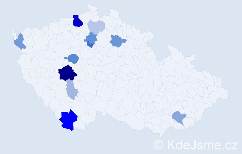 Příjmení: 'Hamburgová', počet výskytů 37 v celé ČR
