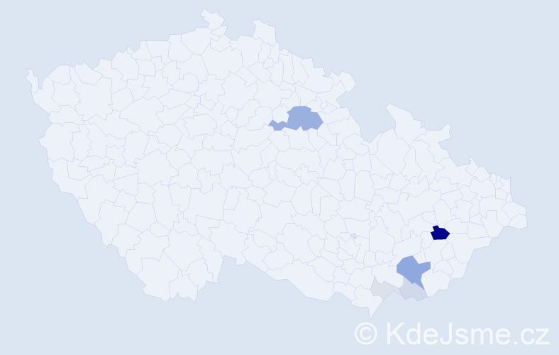 Příjmení: 'Dohodilová', počet výskytů 21 v celé ČR