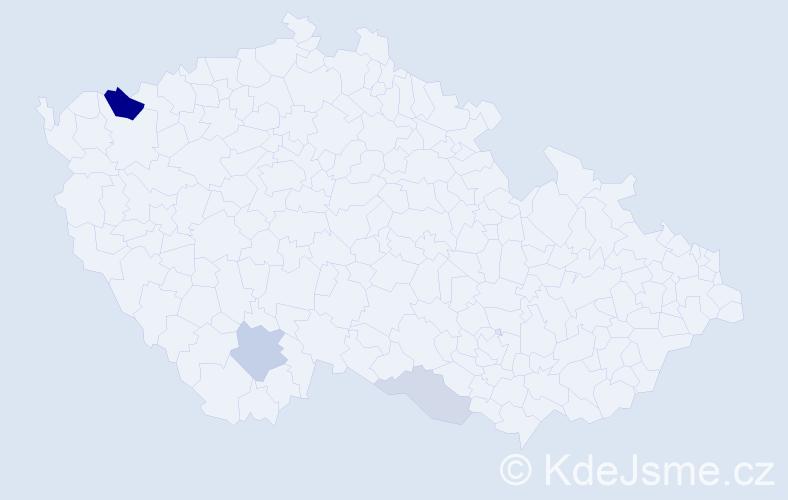 Příjmení: 'Brédiková', počet výskytů 9 v celé ČR
