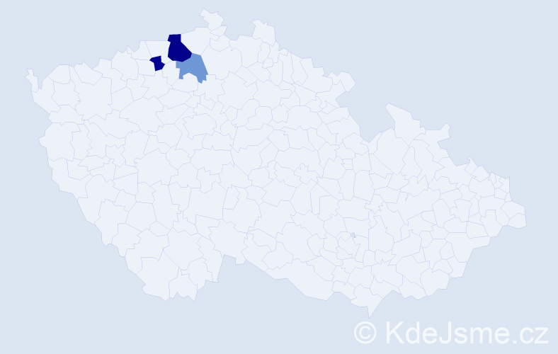 Příjmení: 'Čisar', počet výskytů 13 v celé ČR