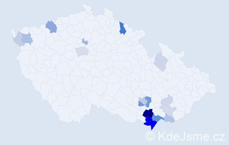 Příjmení: 'Kostrhun', počet výskytů 53 v celé ČR