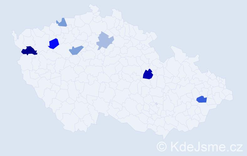 Příjmení: 'Čačko', počet výskytů 11 v celé ČR