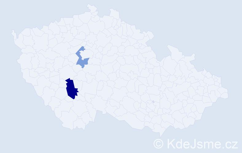 Příjmení: 'Hadžurik', počet výskytů 3 v celé ČR