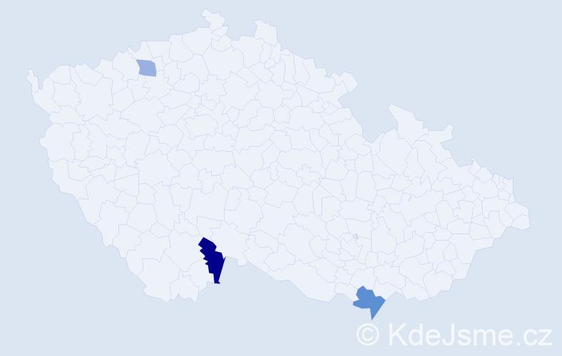 Příjmení: 'Bencs', počet výskytů 10 v celé ČR