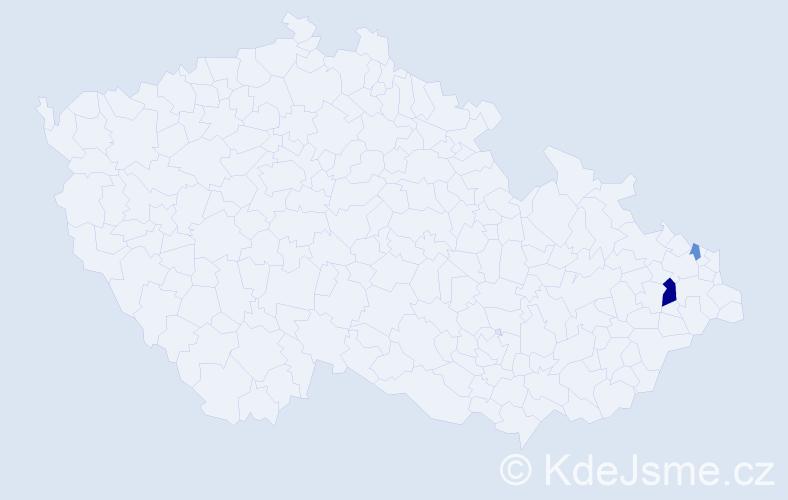 Příjmení: 'Caga', počet výskytů 13 v celé ČR