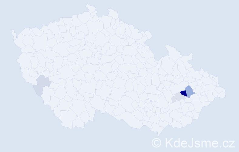 Příjmení: 'Bočán', počet výskytů 27 v celé ČR