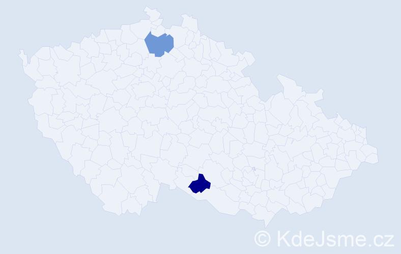 Příjmení: 'Koceva', počet výskytů 2 v celé ČR