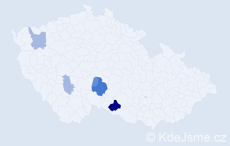 Příjmení: 'Haza', počet výskytů 18 v celé ČR