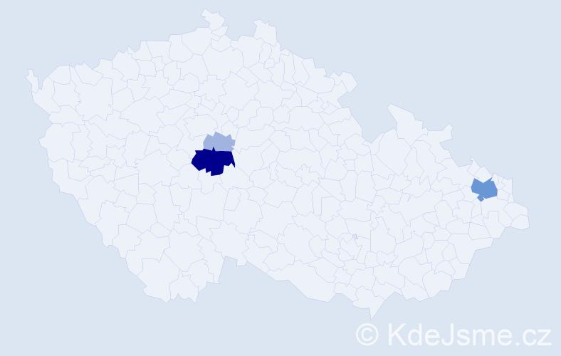 Příjmení: 'Bernold', počet výskytů 15 v celé ČR