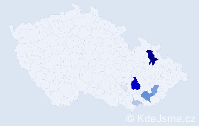 Příjmení: 'Doček', počet výskytů 20 v celé ČR
