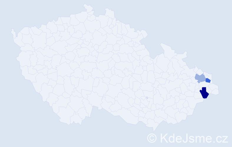 Příjmení: 'Kajpušová', počet výskytů 9 v celé ČR