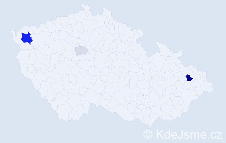 Příjmení: 'Laturová', počet výskytů 9 v celé ČR
