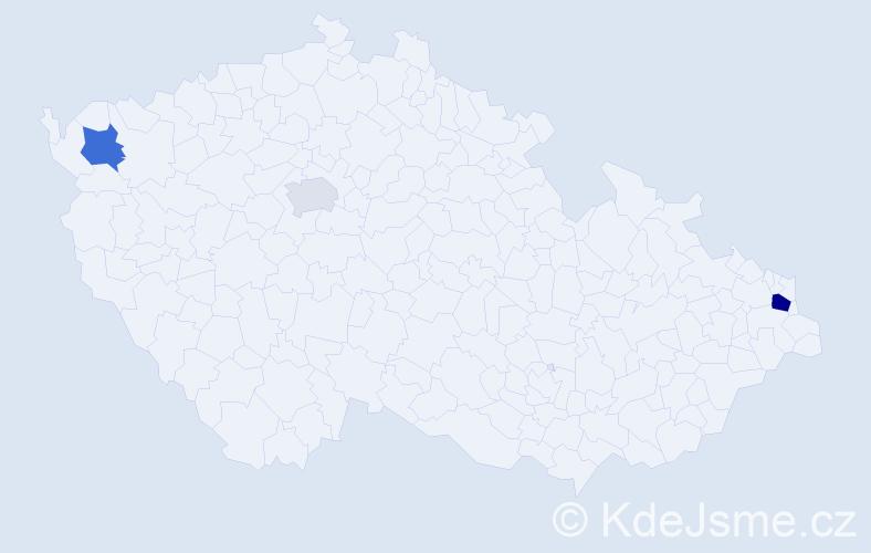 Příjmení: 'Kiseľ', počet výskytů 11 v celé ČR