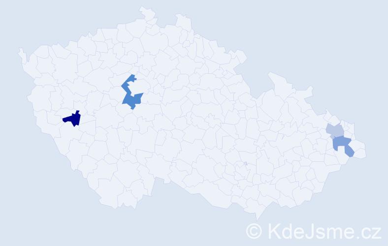 Příjmení: 'Golonka', počet výskytů 5 v celé ČR