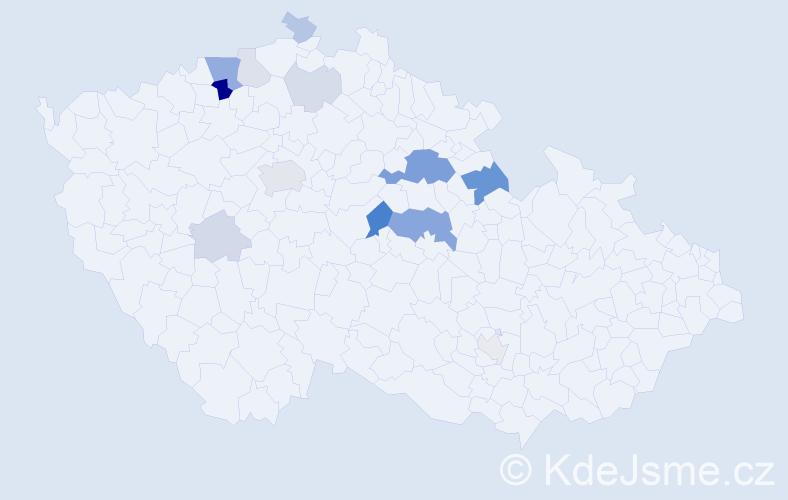 Příjmení: 'Klinský', počet výskytů 35 v celé ČR