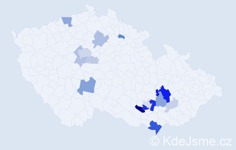 Příjmení: 'César', počet výskytů 52 v celé ČR
