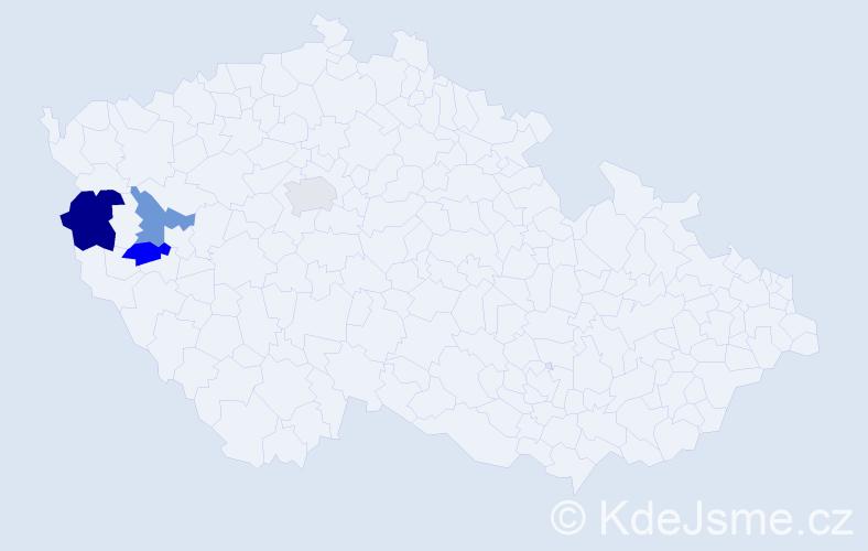 Příjmení: 'Hoidarová', počet výskytů 5 v celé ČR