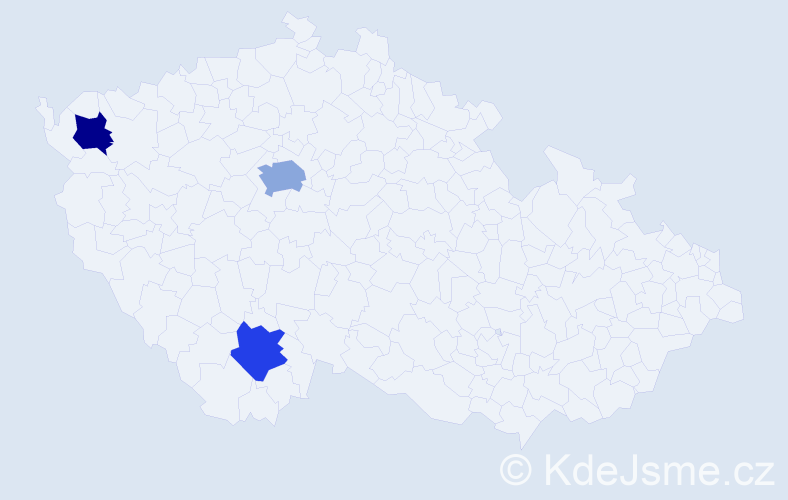 """Příjmení: '""""De Lacruz""""', počet výskytů 4 v celé ČR"""