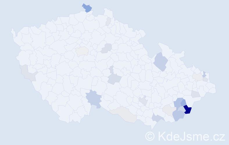 Příjmení: 'Běhunčíková', počet výskytů 70 v celé ČR