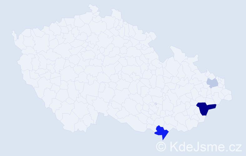 Příjmení: 'Bierza', počet výskytů 6 v celé ČR