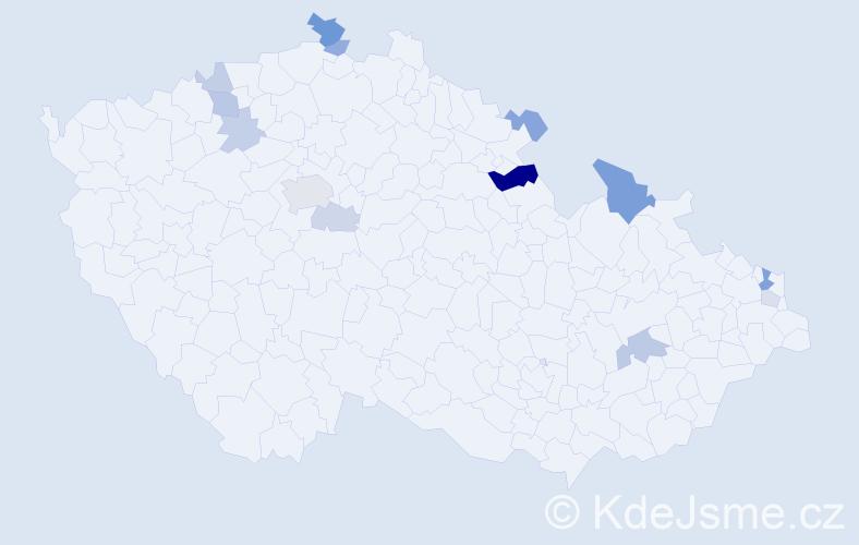 Příjmení: 'Frančiaková', počet výskytů 29 v celé ČR