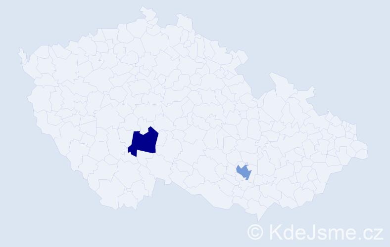 Příjmení: 'Janer', počet výskytů 2 v celé ČR