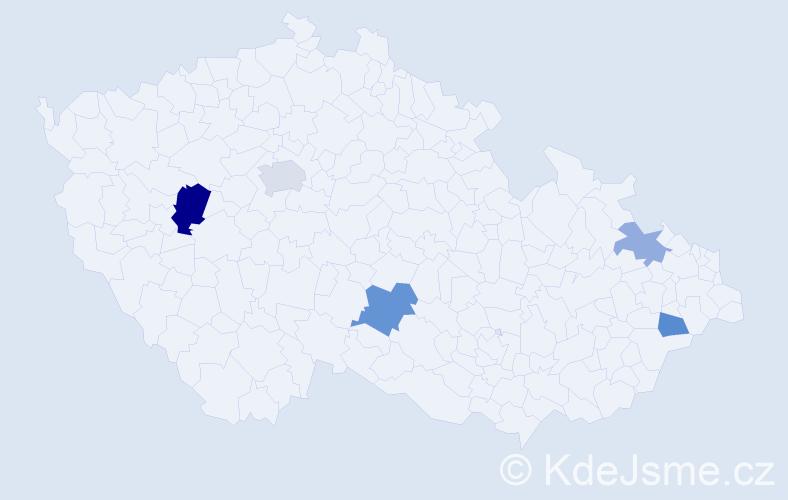 Příjmení: 'Janikovičová', počet výskytů 9 v celé ČR