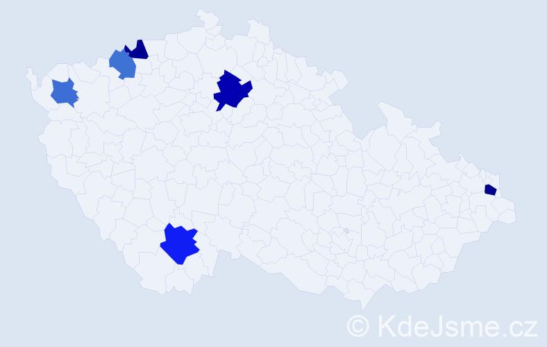 Příjmení: 'Jánošik', počet výskytů 9 v celé ČR