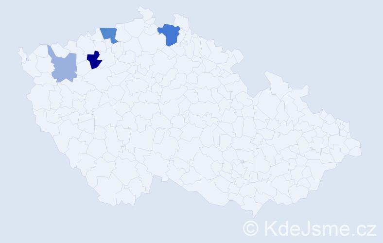 Příjmení: 'Čečerle', počet výskytů 10 v celé ČR