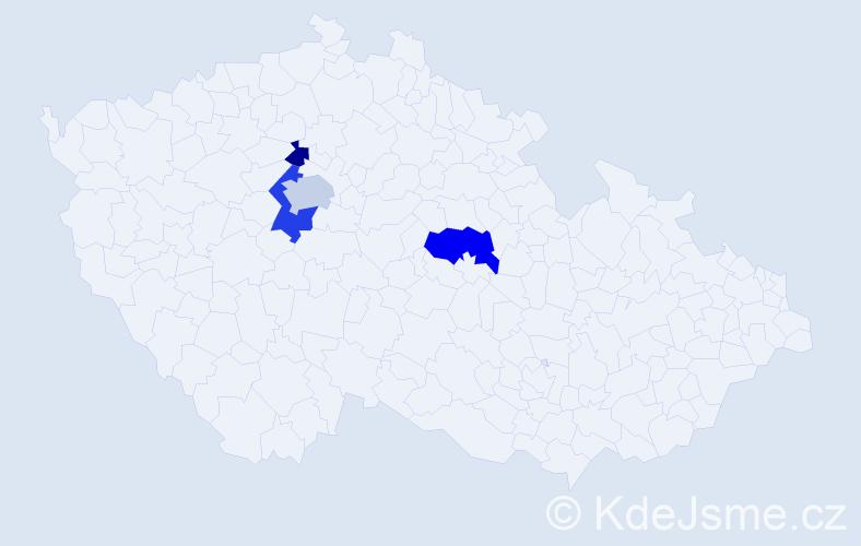 Příjmení: 'Hainallová', počet výskytů 7 v celé ČR