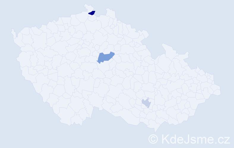 Příjmení: 'Ďurdina', počet výskytů 3 v celé ČR