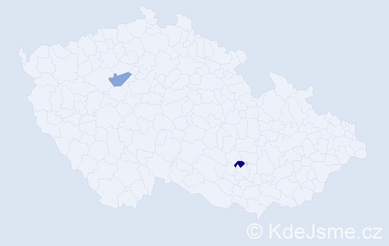 Příjmení: 'Čapinská', počet výskytů 2 v celé ČR