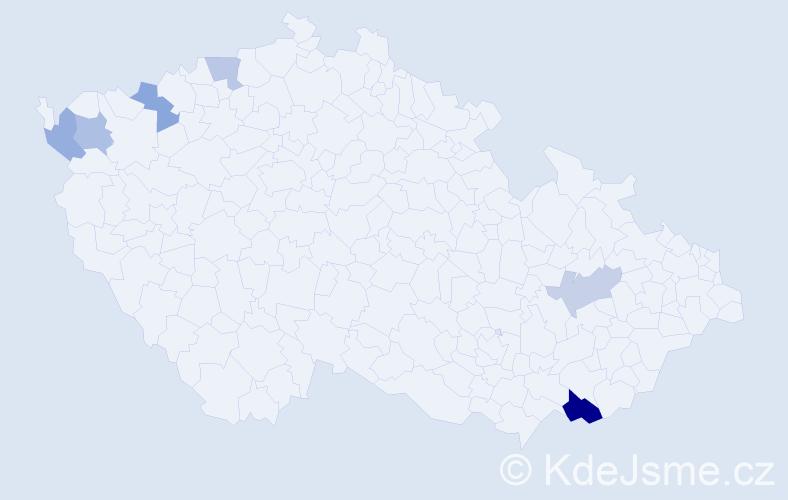 Příjmení: 'Fera', počet výskytů 9 v celé ČR