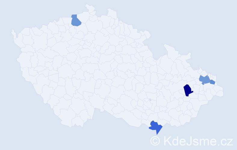 Příjmení: 'Harhajová', počet výskytů 6 v celé ČR
