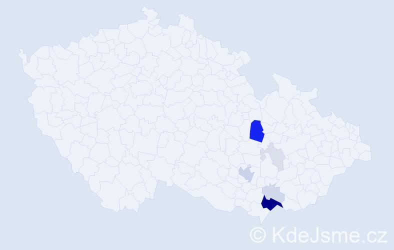 Příjmení: 'Čepil', počet výskytů 28 v celé ČR