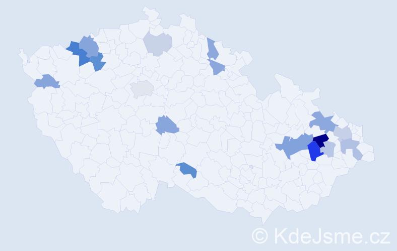 Příjmení: 'Bulej', počet výskytů 40 v celé ČR