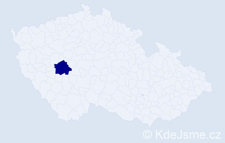 """Příjmení: '""""Economou Krubnerová""""', počet výskytů 1 v celé ČR"""