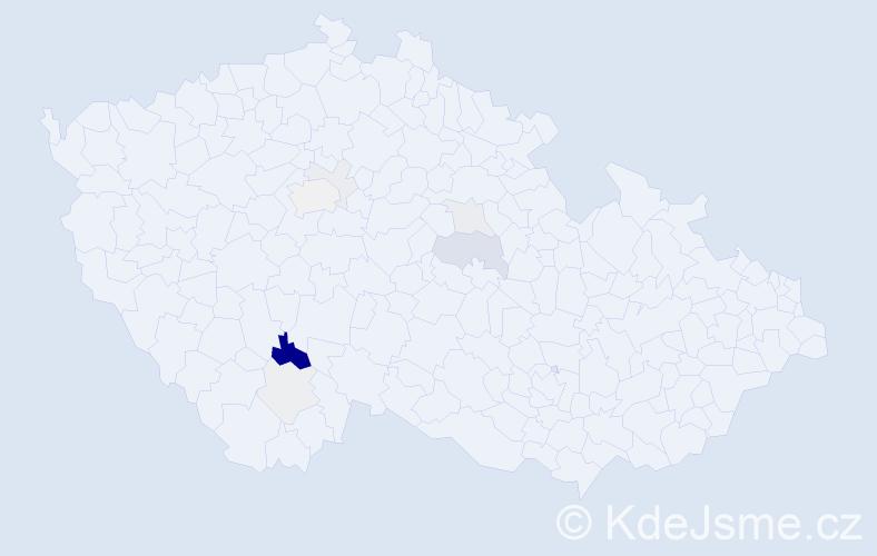 Příjmení: 'Dudlíček', počet výskytů 22 v celé ČR