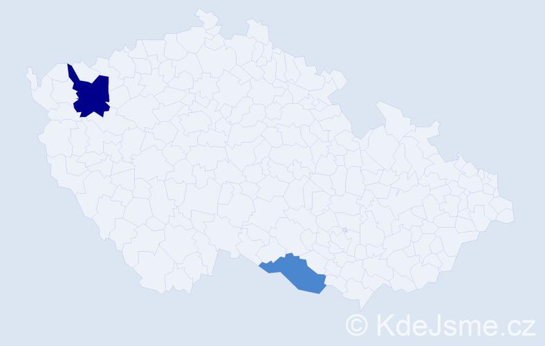 Příjmení: 'Čiriková', počet výskytů 3 v celé ČR