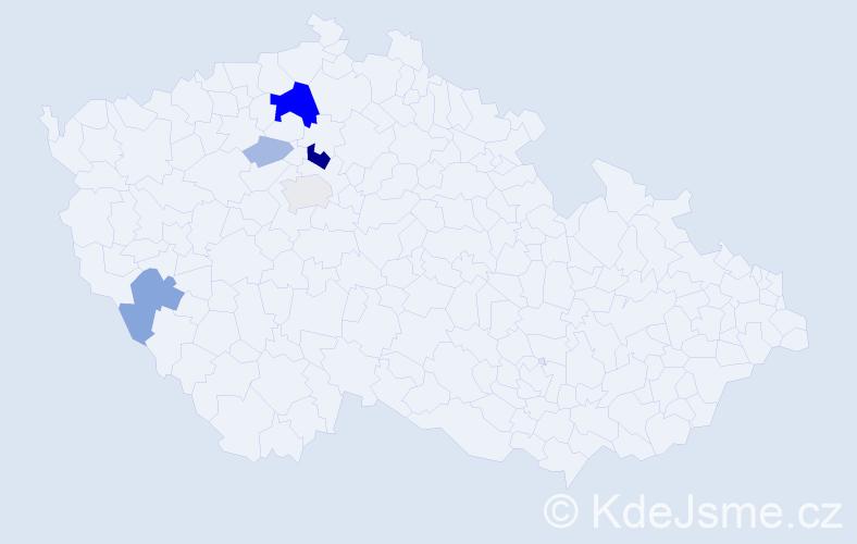 Příjmení: 'Guzi', počet výskytů 18 v celé ČR