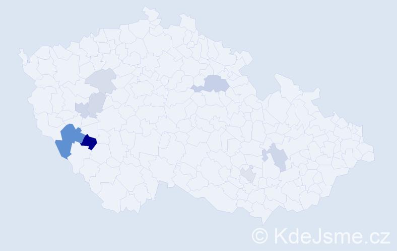 Příjmení: 'Ibrmajer', počet výskytů 24 v celé ČR