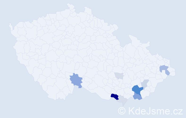 Příjmení: 'Čevelíková', počet výskytů 32 v celé ČR